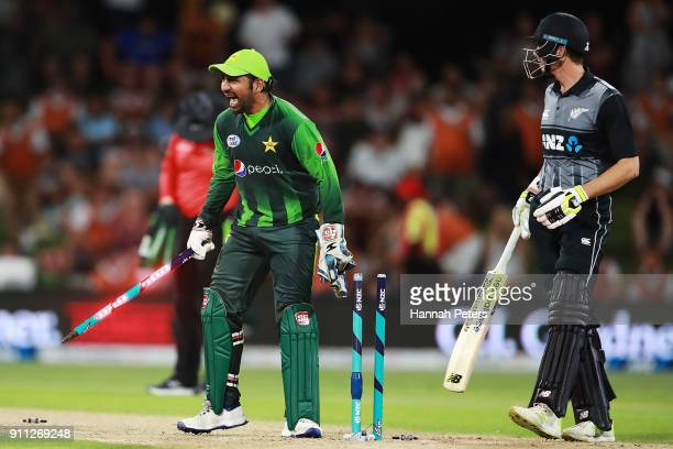 Sarfraz Ahmed of Pakistan celebrates after winning game three of the International Twenty20 match between New Zealand and Pakistan at Bay Oval on...