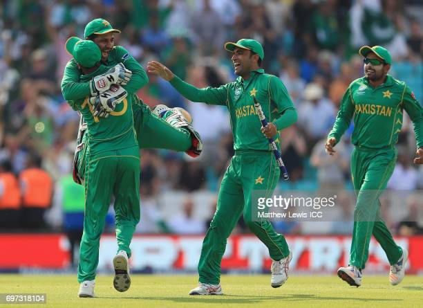 Sarfraz Ahmed of Pakistan celebrates his teams win over India during the ICC Champions Trophy Final between Pakistan and India at The Kia Oval on...