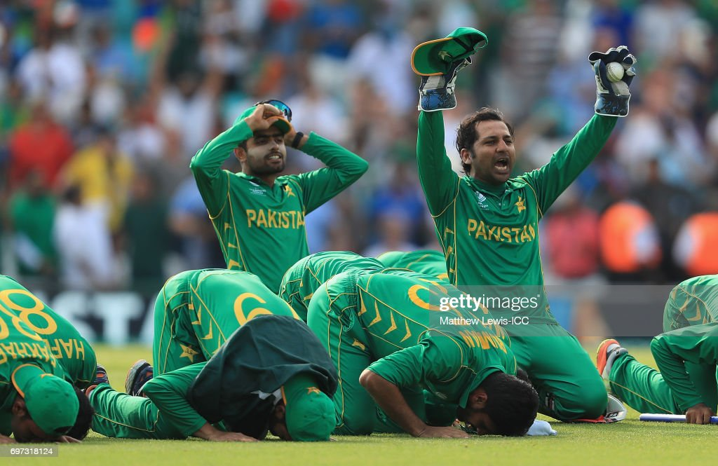 Sarfraz Ahmed of Pakistan celebrates his teams win over India during the ICC Champions Trophy Final between Pakistan and India at The Kia Oval on June 18, 2017 in London, England.