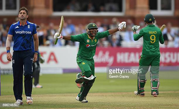Sarfraz Ahmed of Pakistan celebrates reaching his century during the 2nd One Day International match between England and Pakistan on August 27 2016...