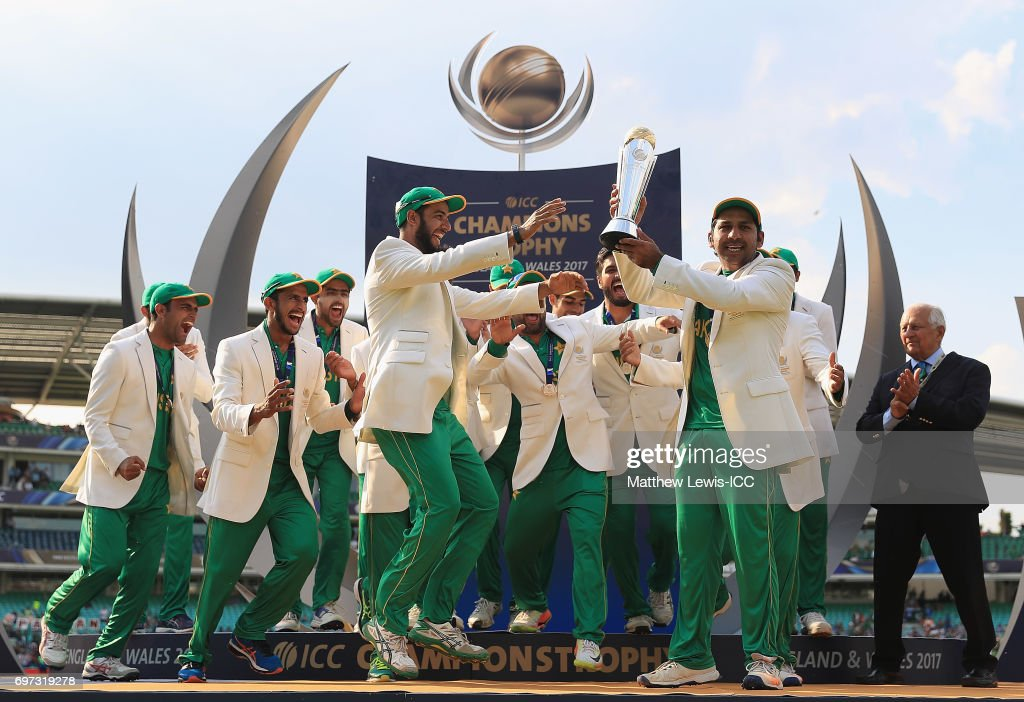 Sarfraz Ahmed of Pakistan celebrates with his team after beating India during the ICC Champions Trophy Final between Pakistan and India at The Kia Oval on June 18, 2017 in London, England.