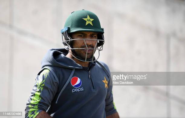 Sarfraz Ahmed of Pakistan during a net session at The Ageas Bowl on May 10 2019 in Southampton England