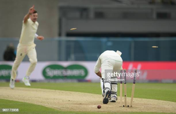 Sarfraz Ahmed of Pakistan is bowled by James Anderson during the 2nd Natwest Test match between England and Pakistan at Headingley cricket ground on...