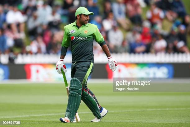 Sarfraz Ahmed of Pakistan leaves the field after being dismissed during game one of the One Day International Series between the New Zealand Black...