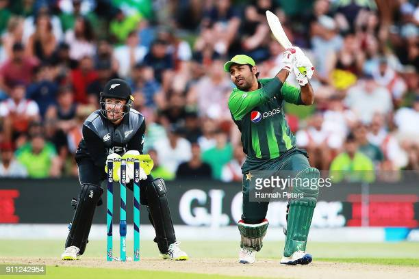 Sarfraz Ahmed of Pakistan pulls the ball away for four runs during game three of the International Twenty20 match between New Zealand and Pakistan at...
