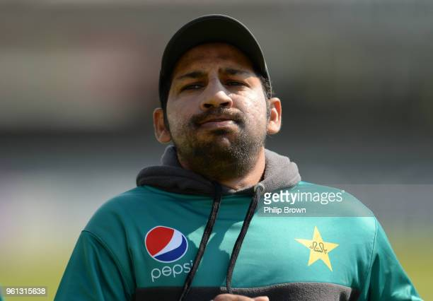 Sarfraz Ahmed of Pakistan runs during a training session before the 1st Test match between England and Pakistan at Lord's cricket ground on May 22...