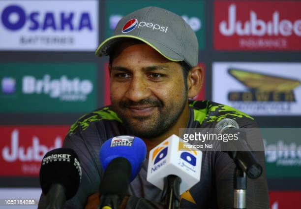 Sarfraz Ahmed of Pakistan speaks during a press confrence at Sheikh Zayed stadium on October 15 2018 in Abu Dhabi United Arab Emirates