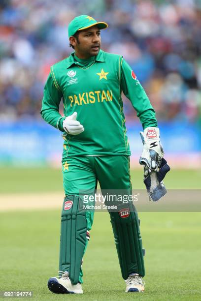 Sarfraz Ahmed the captain of Pakistan during the ICC Champions Trophy match between India and Pakistan at Edgbaston on June 4 2017 in Birmingham...