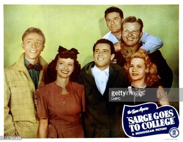 Sarge Goes To College, lobbycard, from left, Warren Mills, Noel Neill, Freddie Stewart, Frankie Darro, Alan Hale, Jr, June Priesser, 1947.