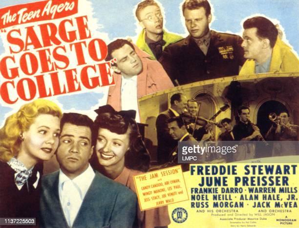 Sarge Goes To College, poster, from left, June Preisser, Freddie Stewart, Noel Neill, Warren Mills, Freddie Stewart, Alan Hale, Jr, Frankie Darro,...