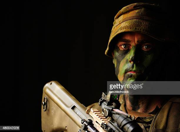 Sargeant Simon Uttley from 6 RAR poses during urban operations as part of exercise Talisman Sabre on July 9 2015 in Rockhampton Australia Talisman...