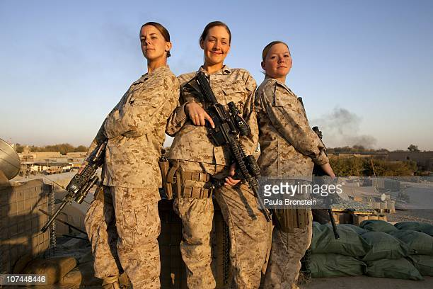 Sargent Sheena Adams Lance Corporal Kristi Baker US Marines and Hospital Corpsman Shannon Crowley US Navy Sailor working with the FET 1st Battalion...