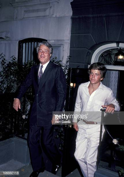 Sargent Shriver and son Mark Shriver during Private Kennedy Family Party August 10 1980 at Home of Jean Stephen Smith in New York City New York...