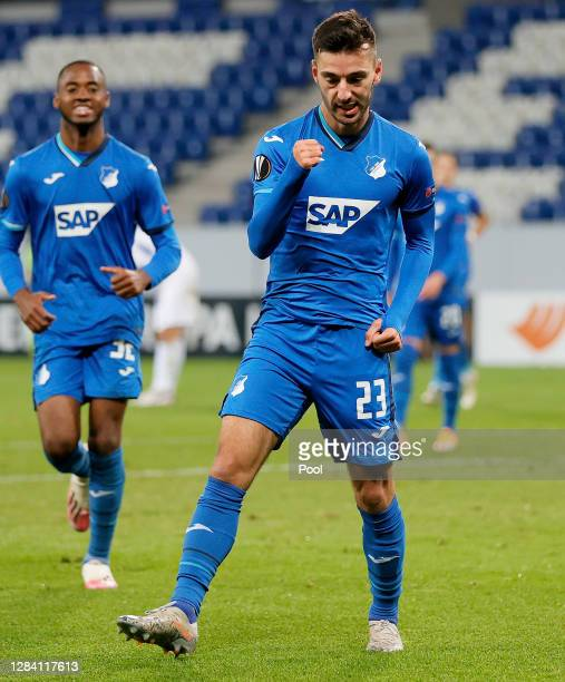 Sargis Adamyan of Hoffenheim celebrates after scoring his team's fourth goal during the UEFA Europa League Group L stage match between TSG Hoffenheim...