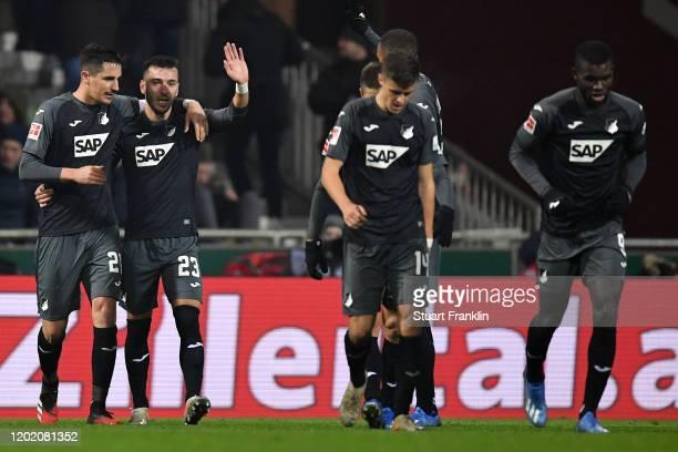 Sargis Adamyan of Hoffenheim celebrates his team's third goal with team mates during the Bundesliga match between SV Werder Bremen and TSG 1899...
