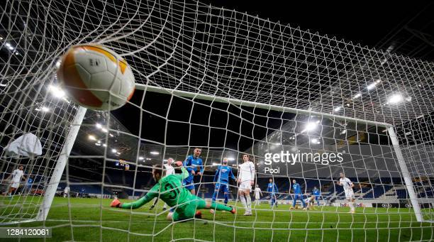 Sargis Adamyan of Hoffenheim scores his team's fifth goal during the UEFA Europa League Group L stage match between TSG Hoffenheim and FC Slovan...