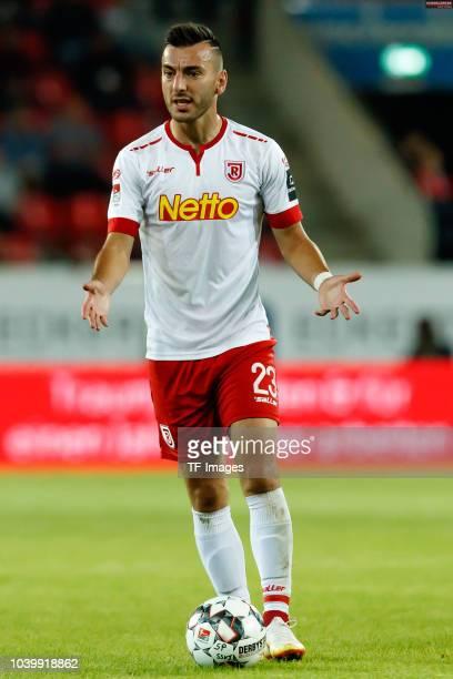 Sargis Adamyan of Jahn Regensburg controls the ball during the Second Bundesliga match between SSV Jahn Regensburg and SG Dynamo Dresden on September...