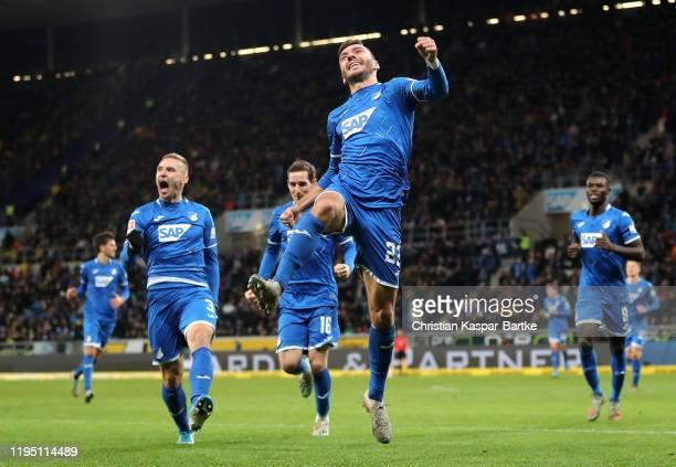 Sargis Adamyan of TSG 1899 Hoffenheim celebrates scoring the first Hoffenheim goal during the Bundesliga match between TSG 1899 Hoffenheim and...