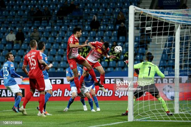 Sargis Adamyano of Regensburg scores his team's first goalduring the Second Bundesliga match between VfL Bochum 1848 and SSV Jahn Regensburg at...