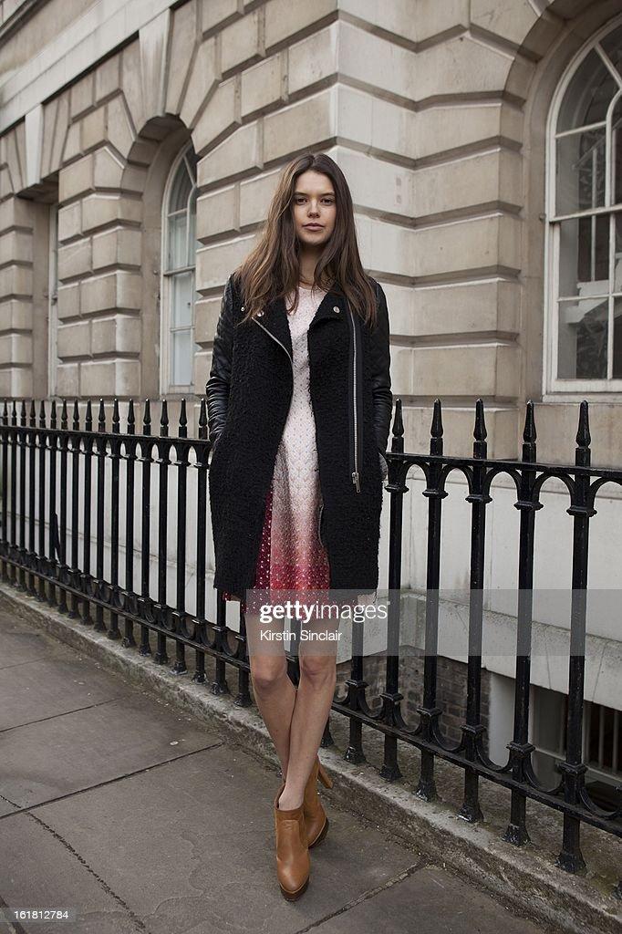 Sarha Ann Macklin, on day 2 of London Womens Fashion Week Autumn/Winter 2013 on February 16, 2013 in London, England.