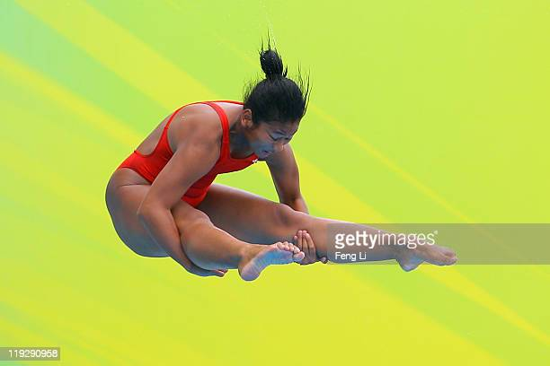 Sari Ambarwati of Indonesia competes in the Women's 1m Springboard preliminary round during Day Two of the 14th FINA World Championships at the...