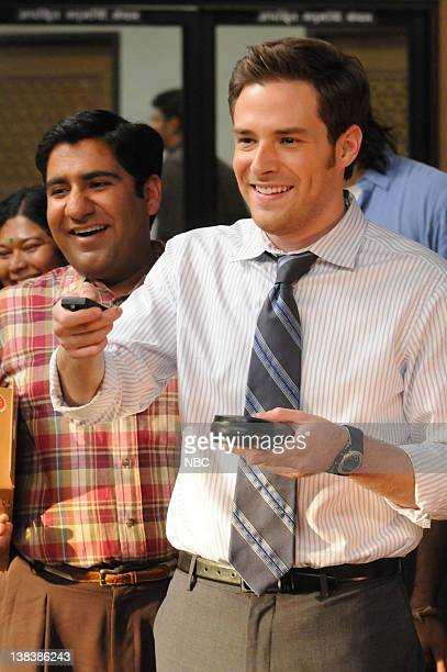 OUTSOURCED 'Sari Charlie' Episode 110 Pictured Parvesh Cheena as Gupta Ben Rappaport as Todd Dempsy