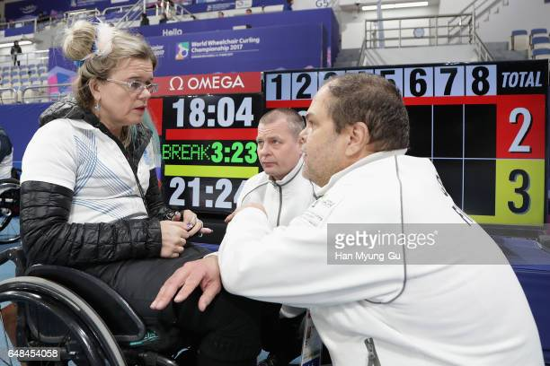 Sari Karjalainen from Finland reacts during the World Wheelchair Curling Championship 2017 test event for PyeongChang 2018 Winter Olympic Games at...