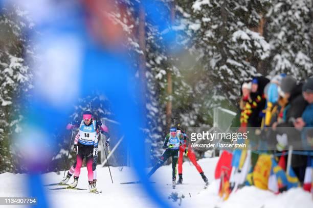 Sari Maeda of Japan competes at the IBU Biathlon World Championships Women's Pursuit at Swedish National Biathlon Arena on March 10, 2019 in...