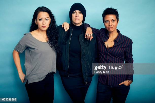 Sari Sanchez Jennifer Reeder and Fawzia Mirza of 'Signature Move' pose for a portrait at The Wrap and Getty Images SxSW Portrait Studio on March 12...