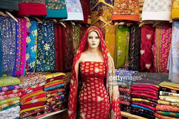 Sari shop in Southall in West London also known as 'Little India' by some is an area almost completely populated by people from South Asia Figures...