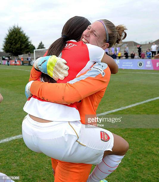 Sari van Veenendaal and Alex Scott of Arsenal Ladies celebrate after winning the penalty shoot out after the match between Arsenal Ladies and Notts...