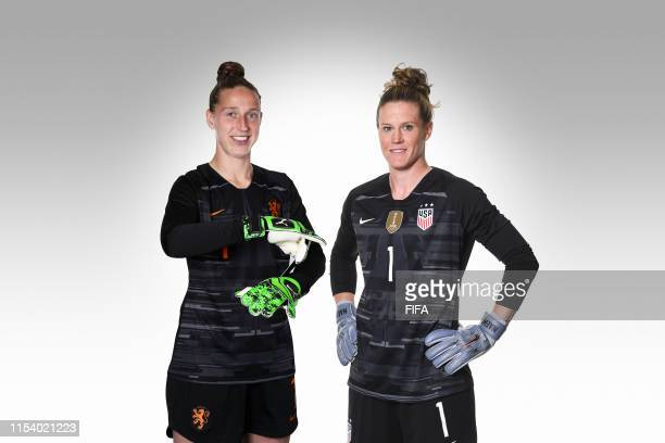 Sari van Veenendaal and Alyssa Naeher pose for a portrait prior to the FIFA Women's World Cup Final between USA and Netherlands at Stade de Lyon...
