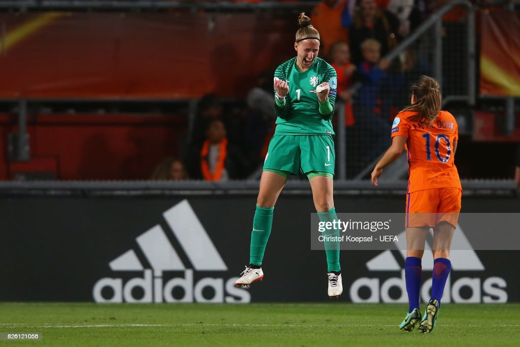 Sari van Veenendaal and Danielle van de Donk of the Netherlands celebrate after winning 3-0 the UEFA Women's Euro 2017 Second Semi Final match between Netherlands and England at De Grolsch Veste Stadium on August 3, 2017 in Enschede, Netherlands.