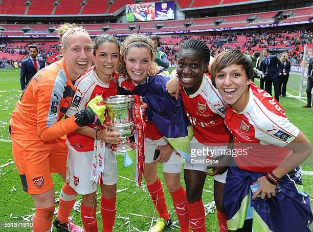Sari van Veenendaal Danielle van de Donk Dominique Janssen Asisat Oshoala and Marta Corredera of Arsenal Ladies with the FA Cup Trophy after the...