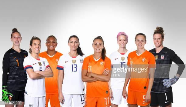 Sari van Veenendaal Kelley O'Hara Shanice van de Sanden Alex Morgan Lieke Martens Megan Rapinoe Vivianne Miedema and Alyssa Naeher pose for a...