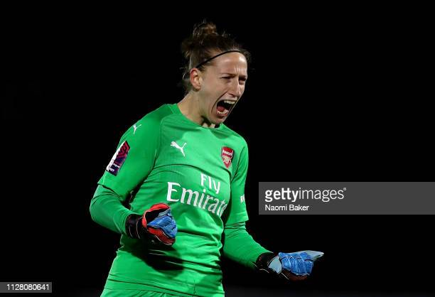 Sari van Veenendaal of Arsenal celebrates after Vivianne Miedema of Arsenal scores her sides second goal during the FA WSL Cup match between Arsenal...