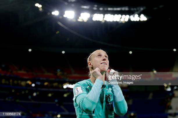 Sari van Veenendaal of Holland Women celebrates the victory during the World Cup Women match between Holland v Sweden at the Stade de Lyon on July 3,...