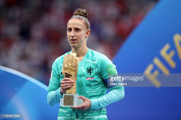Sari van Veenendaal of Netherlands poses with her golden glove award during the 2019 FIFA Women's World Cup France Final match between The United...