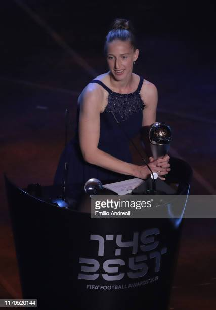 Sari Van Veenendaal receives The Best FIFA women's goalkeeper of the year award during The Best FIFA Football Awards 2019 at the Teatro Alla Scala on...
