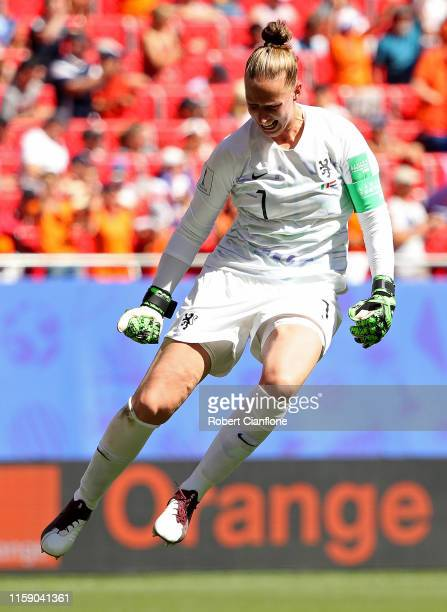 Sari Van Weenendaal of the Netherlands celebrates her team's first goal during the 2019 FIFA Women's World Cup France Quarter Final match between...