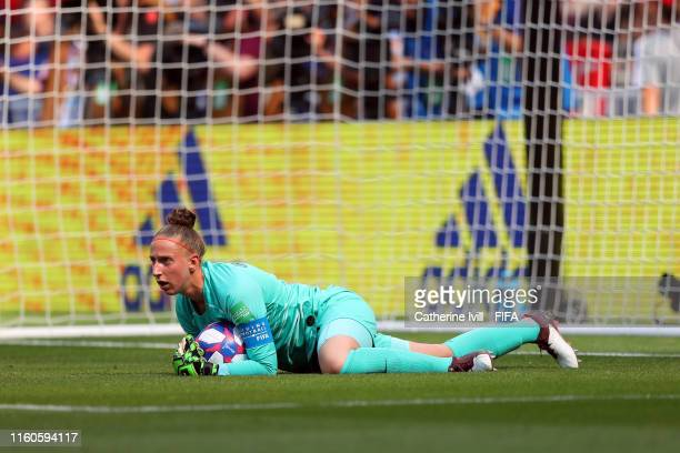 Sari Van Weenendaal of the Netherlands gathers the ball during the 2019 FIFA Women's World Cup France Final match between The United States of...