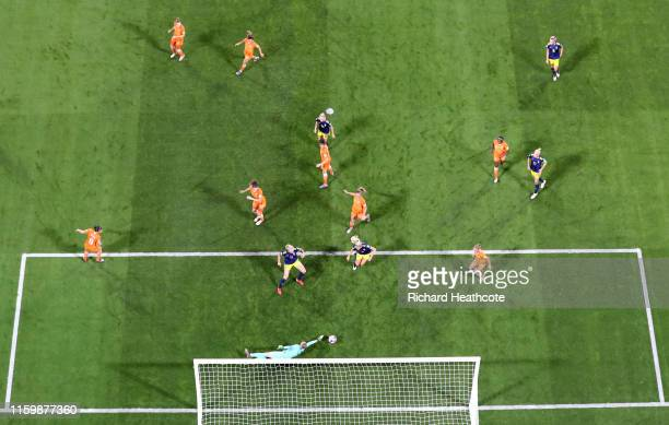 Sari Van Weenendaal of the Netherlands makes a save during the 2019 FIFA Women's World Cup France Semi Final match between Netherlands and Sweden at...