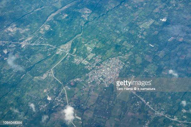 Sariaya town in Province of Quezon in Philippines daytime aerial view from airplane daytime aerial view from airplane
