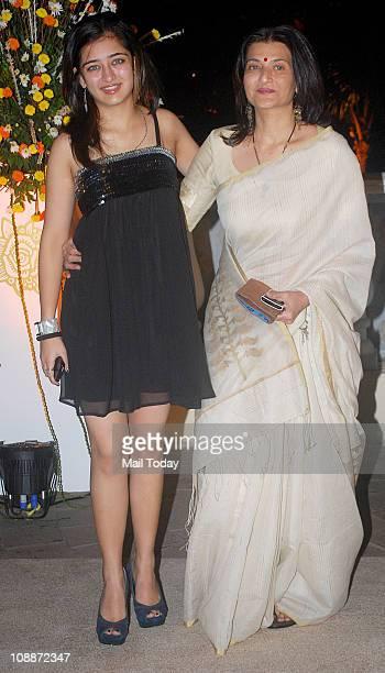Sarika with daughter Akshara Haasan at Imran Khan and Avantika Malik's wedding reception party which was organised by Aamir Khan and Kiran Rao at Taj...