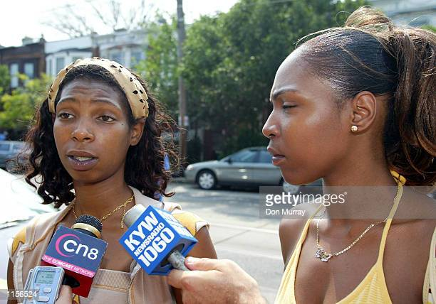 Sarina Gills mother of 7yearold kidnapped victim Erica Pratt speaks during as news conference with Corin Peterson a cousin looking July 23 2002 in...