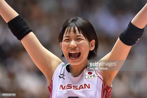Sarina Koga of Japan celebrates after a point in the match between Japan and Kenya during the FIVB Women's Volleyball World Cup Japan 2015 at Yoyogi...