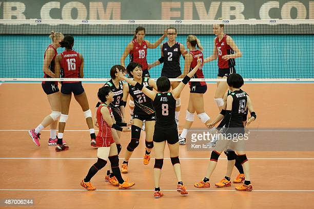 Sarina Koga of Japan celebrates with her teammate after a point in the match between Japan and USA during the FIVB Women's Volleyball World Cup Japan...