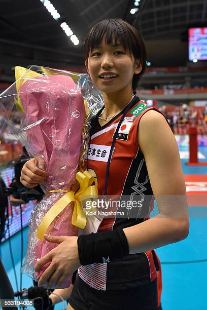 Sarina Koga of Japan looks on during the Women's World Olympic Qualification game between Japan and Italy at Tokyo Metropolitan Gymnasium on May 21...