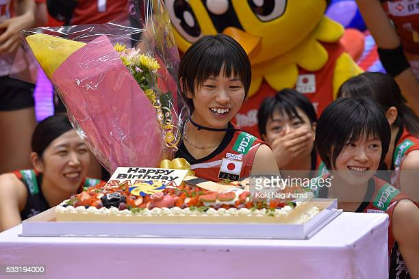 Sarina Koga of Japan receibes the birthday cake after the Women's World Olympic Qualification game between Japan and Italy at Tokyo Metropolitan...