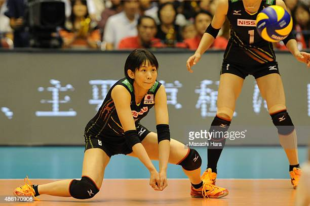 Sarina Koga of Japan receives the ball during the match between Japan and Serbia during the FIVB Women's Volleyball World Cup Japan 2015 at Sendai...